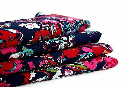 """By The Yard Floral Designer 100% Cotton Cloth Fabrics 44"""" Wide Sewing Fabric"""