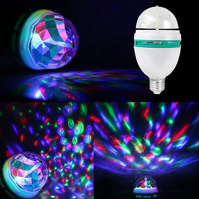 2/4 Colorful Rotating RGB LED Magic Ball Bulb Stage Light Xmas Party Lamp Disco