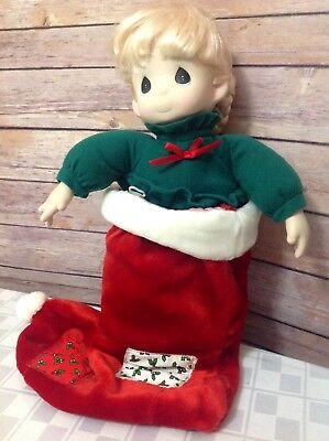 "Precious Moments Christmas Doll in Stocking  ""Nikki"" 1995 QVC Exclusive New"