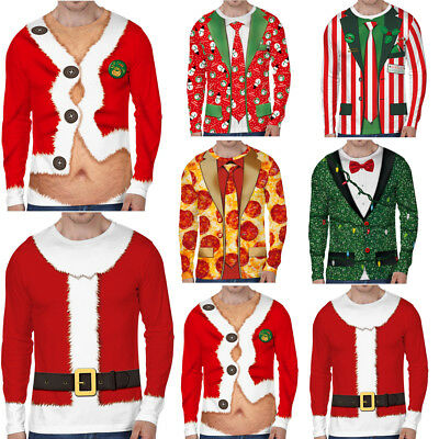 Christmas Mens' Casual Long Sleeve Santa Claus 3D Printed T-Shirt Tops Xmas Tee