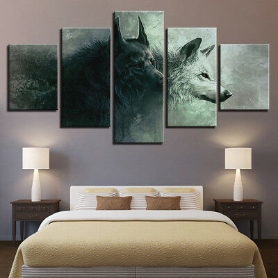 The Cherokee Legend Of Two Wolves Animal Painting 5 Panel Canvas Print Wall Art