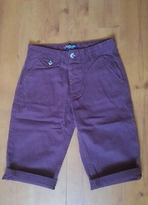 Boys Kangol Chino Shorts Size 7-8 Chino Shorts 100% Cotton Maroon / Burgundy