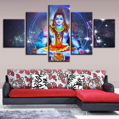 Lord Shiva Blessing Hindu God Painting 5 Panel Canvas Print Wall Art Home Decor