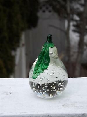 """Clear Pear Paperweight Controlled Bubbles 4"""" Tall Green Leaf Flawless"""