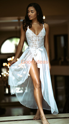 Womens White Sexy Lingerie Lace Backless Wedding Robe Long Gown Babydoll Dress