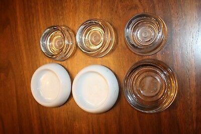 Lot of 6 Vintage Glass Furniture LEG COASTERS / FLOOR PROTECTORS Clear/White