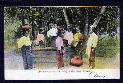 Burma..Women Drawing Water From A Well..Hand Tinted..c1905 Postcard....#794a