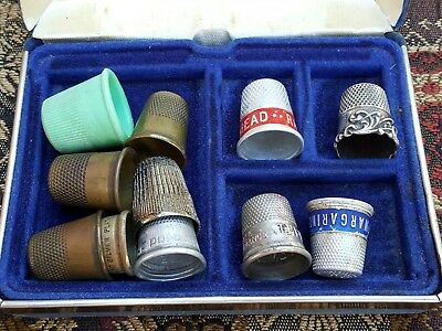 Lot of 11 Old Antique Vtg Sewing Thimble Advertising Sterling Silver Collection