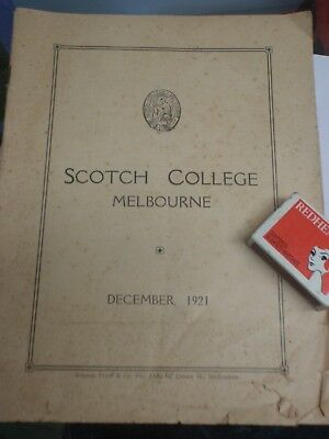 1921  Scotch College Melbourne Examination Results,   booklet