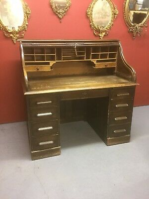 Antique Oak Roll Top Desk Sn-678