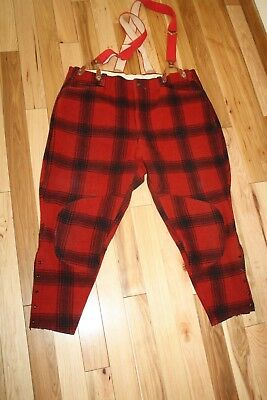 Soo Woolen Mills Buffalo Plaid Hunting Pants Mens Vintage Red Black