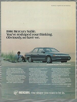 1986 MERCURY SABLE advertisement, sedan on the beach