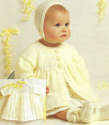 Machine Knitting Pattern For Baby 16 To 20 Inch Dress Coat Bonnet