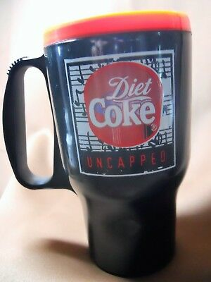 Diet Coke 1997 Uncapped black plastic 16 oz. travel mug, new