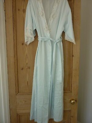 Vintage Marks & Spencer Pale Blue Satin Lace & Embroidery Trimmed Robe Size 14