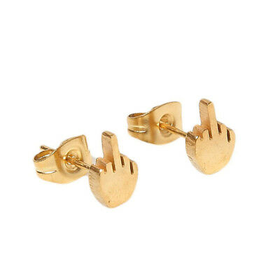 Unisex Stainless Steel Ear Stud Fashion Middle Finger Earring Jewelry Gift 6A