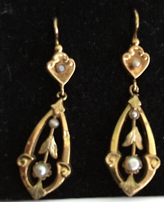 Antique French Pendent Earrings With Fine Pearls Late Xix. Century Gold 750