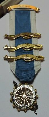 DAR Daughters of the American Revolution Ribbon Badge Pin - Caldwell Gold Filled
