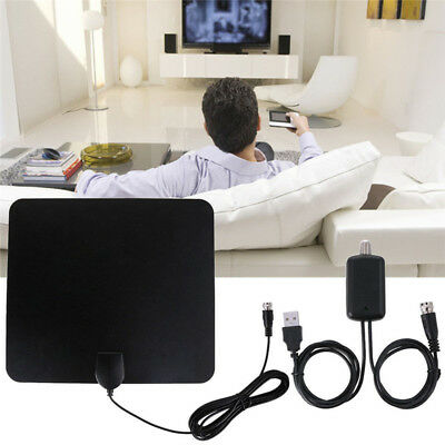 TV Antenna HDTV Flat HD'Digital Indoor Amplified 50-Mile Range TVFox VHF UHF LZ