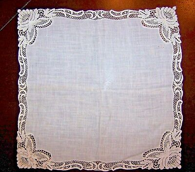 Pretty Vintage Linen & Embroidered Tulle Lace & Seed Pearl Bridal Hankie