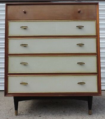 vintage retro chest of drawers leather inserts 1950s 60s Heals italian buffet