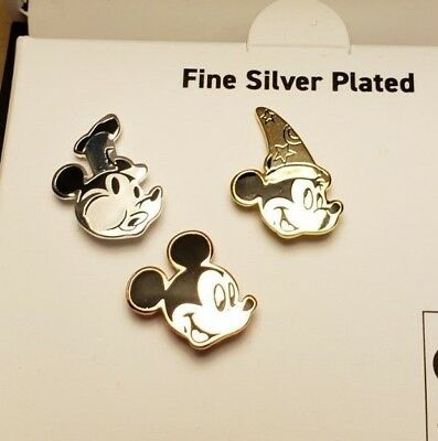 DISNEY 3 Pin Set The Mickey Mouse True Original 90 Years Silver Plated Collectab