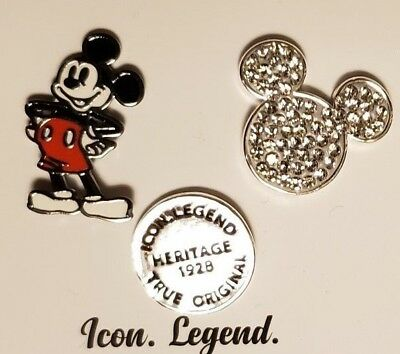 DISNEY 3 Pin Set Mickey Mouse 90 Years Silver Plated The True Original Collectib