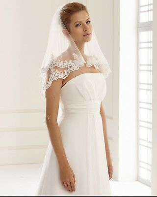Bridal Veil Ivory, Lace Edged 2 Tier Made In The EU