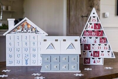 Wooden Christmas Advent Calendars Decoration with Drawers Red White Grey