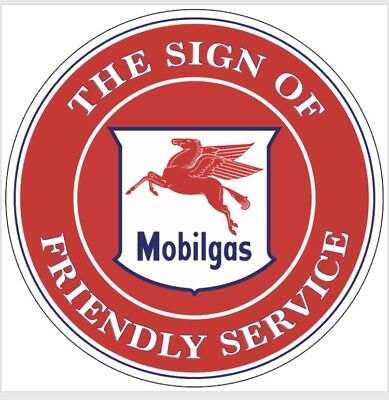 Mobil Oil Mobilgas Service gasoline vintage Style advertising sign Red