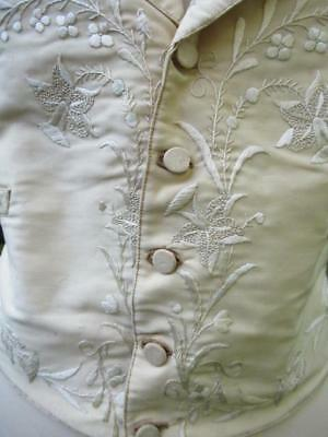 ANTIQUE SILK MEN'S WAISTCOAT VEST HAND EMBROIDERED ENGLISH GENT DANDY c 1890