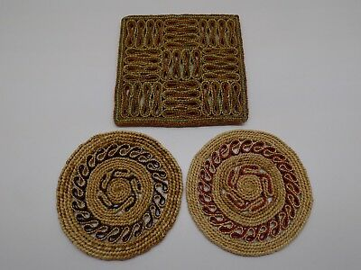 Trivets Rattan Wicker Woven Straw Hot Pads Wall Decor Vintage 1 Square 2 Round