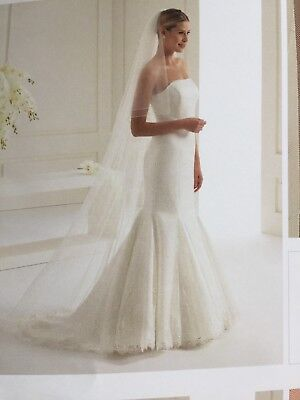 Bridal Veil Ivory, Corded Edge 2 Tier Cathedral Length With 80 Swarovski Crystal