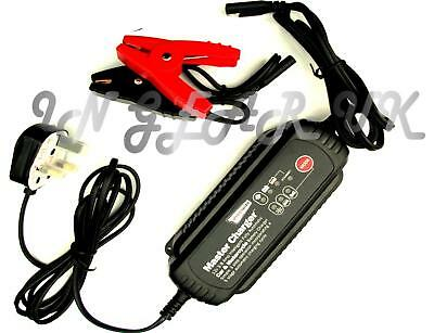 Intelligent 12v battery charger car bike van or leisure caravan storage winter