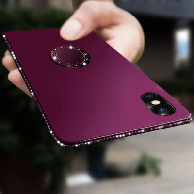 Women Bling Diamond Glitter Ring Stand Matte Case for iPhone XS Max XR 8 7 6S+
