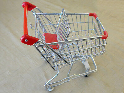 "Mini Shopping Cart, 12"" long x 14"" tall, Small Steel Metal Chrome Grocery Basket"