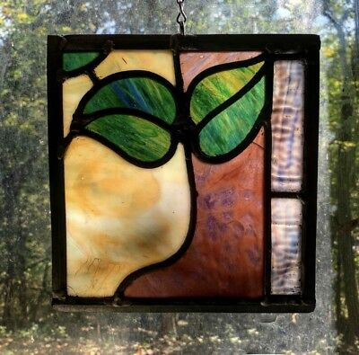Architectural Salvage Leaded Stained Glass- Leave With Gold and Pink Accents