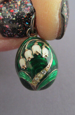 VINTAGE GREEN ENAMEL GUILLOCHE Sterling Lily of the Valley Faberge Egg PENDANT