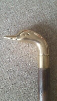 Vintage brass Ducks head walking cane with hidden drinks compartmen. Pre -owned.