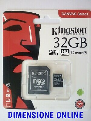 KINGSTON Micro SD 32 GB classe 10 MICROSD 80 MB/S Canvas SCHEDA MEMORIA SDCS