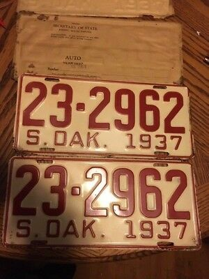 1937 South Dakota License Plate Pair still envolop[e from courthouse