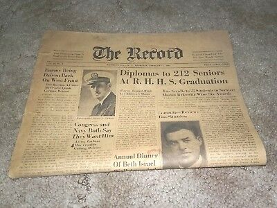 Vintage February 1945 The Record Richmond Hill New York Newspaper NY