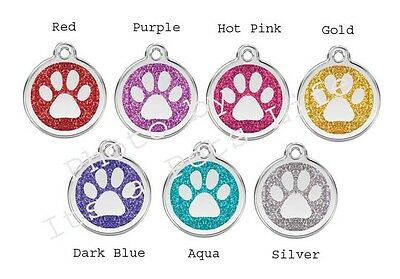 Red Dingo Paw Print Glitter Enamel/Solid Stainless Steel Engraved ID Dog/Cat Tag
