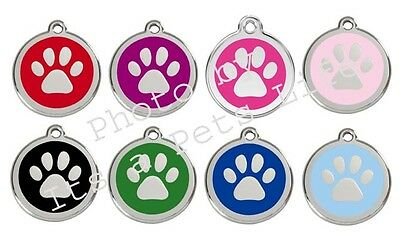 Red Dingo Paw Print Enamel/Solid Stainless Steel Engraved ID Dog/Cat Tag