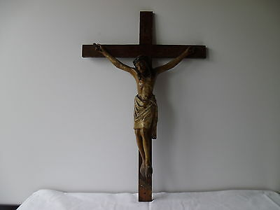 Antique German Wall Crucifix Baroque wood carved and framed 18th century
