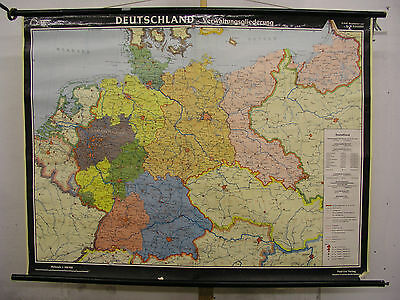 Schulwandkarte Wall Map German Reich before 1945 Germany after 154x116 1953