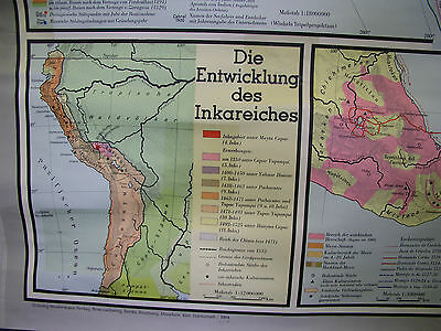 Schulwandkarte Beautiful Old World Map Discoveries 203x121 Vintage 1955