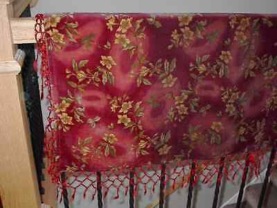 Antique Red Velvet Piano Scarf Coverlet Blanket Fabric Sleigh Holiday Christmas