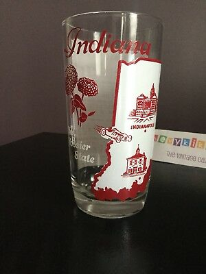 Vtg 1950's Indiana The Hoosier State Big Top Peanut Butter Glass & Song