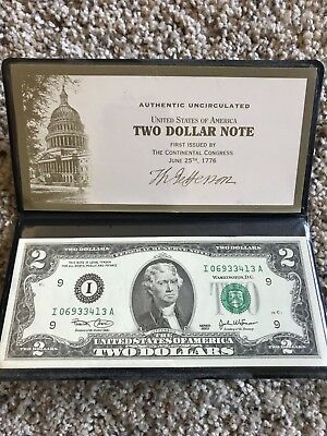 Two Dollar $2 U.S. Bill Genuine Legal Tender in Wallet - Colorized Overlay
